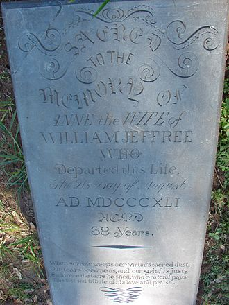 Gongo Soco - Gravestone of Anne, wife of William Jeffree, who died in 1841 aged 38