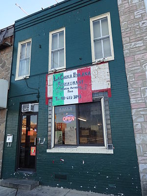 History of the Hispanics and Latinos in Baltimore - La China Poblana Mexican Restaurant, Greektown, December 2014.