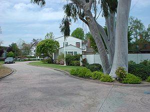 Los Cerritos, Long Beach, California - La Linda Drive looking North West from the entrance.