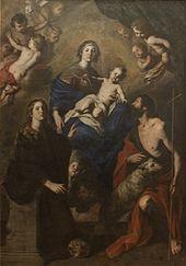 Madonna col bambino e i Santi Rosalia e Giovanni Battista.