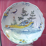 La Rochelle Faience de grand feu plate with Chinese decorations 18th century