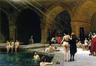 The Turkish Bath - Jean-Léon Gérôme, Women at a Bath, Salon of 1885. Hermitage, St. Petersburg