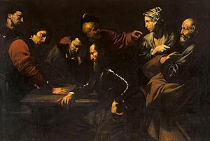The Denial of Saint Peter (Caravaggio) - Denial of Saint Peter by José de Ribera, oil on canvas, 163 x 233 cm, Galleria Corsini, Rome