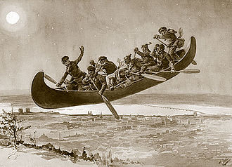 Canadian folklore - An illustration of La chasse-galerie (The Flying Canoe) by Henri Julien, from a popular Quebec folktale.