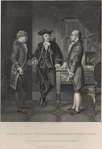 Gilbert du Motier, Marquis de Lafayette - 1879 Alonzo Chappel print of Lafayette (center) being introduced by Baron Johann de Kalb (left) to Silas Deane