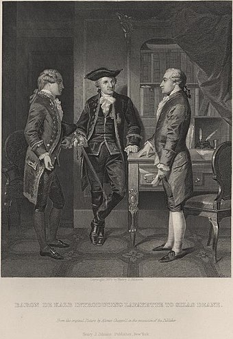 1879 Alonzo Chappel print of Lafayette (center) being introduced by Baron Johann de Kalb (left) to Silas Deane Lafayette and Deane.jpg