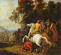 Lambert de Hondt the Younger - Equestrian fight at the foot of a mountain, pendant - Oil on canvas, 1681.jpg