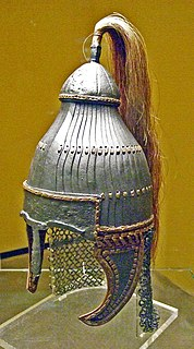 helmet made of overlapping scales