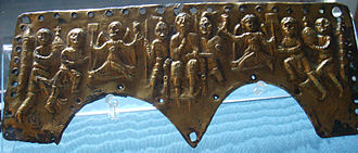 Agilulf - Gilt bronze forehead plate of a lamellar helmet depicting the coronation of King Agilulf, found at Valdinievole, now in the Bargello National Museum, Florence.