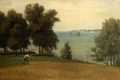Landscape byFrankHillSmith man scything grass on a hill overlooking a harbor.png