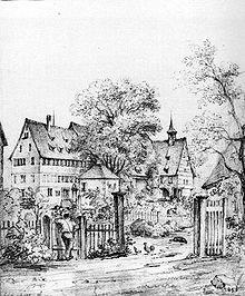 Hölderlins Geburtshaus auf einer Bleistiftzeichnung um 1800 von Julius Nebel[4] (Quelle: Wikimedia)