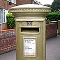 Laura Trott's Gold Post Box - geograph.org.uk - 3165379.jpg