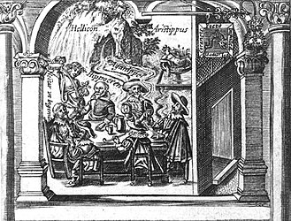 Mermaid Tavern - Top half of the title page of Richard Braithwaite's Lawes of Drinking, William Marshall, engraver. It has been argued that the tavern sign, which reads (clockwise from top) Poets impalled wt Lawrell coranets (Poets impaled with laurel coronets), is that of the Mermaid Tavern.