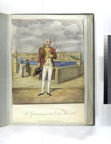 Gemälde des Johanniter-Gouverneurs von Fort Manoel aus dem 18. Jahrhundert mit dem Fort selbst im Hintergrund