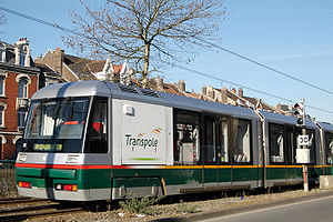 Transpole - One of the tram cars, at Marcq-en-Baroeul on the Roubaix line