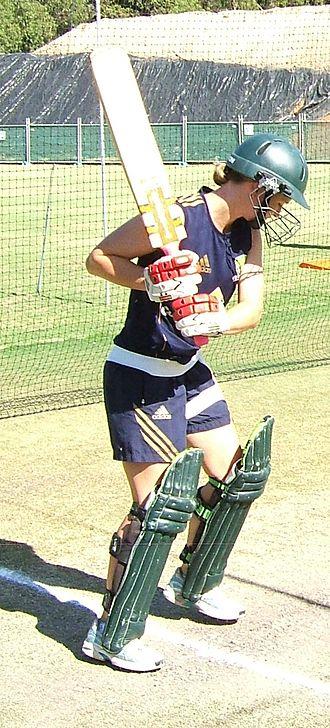 Leah Poulton - Poulton preparing to play a shot in the nets.