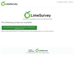 LimeSurvey by Wikimedia Italia with a Wikimania2021online survey - homepage - English.png