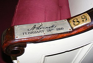Plymouth Church (Brooklyn) - Plaque on the pew where Abraham Lincoln attended service