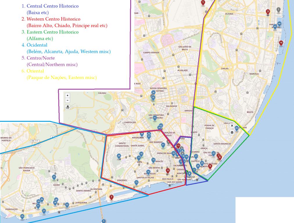 Carte de Lisbonne avec en rouge les quartiers du Chiado, de Barrio Alto et Principe Real.