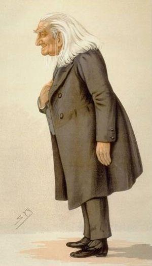 Caricature of Franz Liszt. Caption read