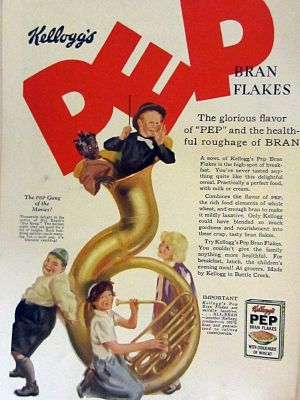 Pep (cereal) - Pep Bran Flakes Cereal ad featuring the Little Rascals from 1928.