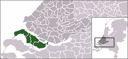 Highlighted position of Goeree-Overflakkee in a municipal map of South Holland