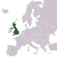 Map of the United Kingdom within Europe.