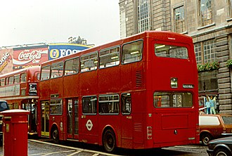 Privatisation of London bus services - London Buses MCW Metrobus at Piccadilly Circus in October 1987