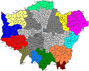 East London - London Postal Region Map: The 'Eastern' district is a sub-set of East London which excludes central areas, Hoxton and the eastern suburbs.