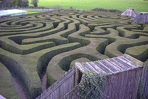 a hedge maze at longleat stately home in england