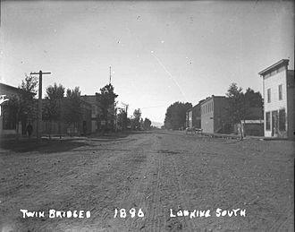 Twin Bridges, Montana - Looking South down Main Street in Twin Bridges, Montana 1896