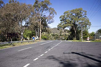 Tharwa, Australian Capital Territory - Looking south-east, towards the Murrumbidgee River, on North Street in Tharwa.