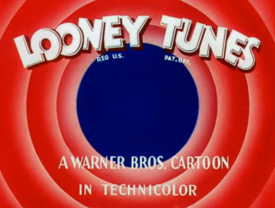 A black and white Looney Tunes opening title from 1943 featuring Porky Pig and Daffy Duck.