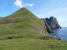 Lopranseiði and Kirvi a Mountain in Suðuroy and the Cliff Beinisvørð.JPG