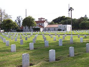 Los Angeles National Cemetery - View towards southwest and the Bob Hope Veterans Chapel