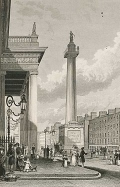 Artwork of statue of Nelson on top of a Doric column in a broad street with pedestrians and lined with buildings