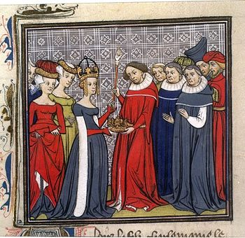 Ludwig II (center) on a miniature in the Grandes Chroniques de France