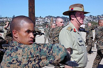 Peter Leahy - Leahy walks among recruits during his visit to the Marine Corps Recruit Depot San Diego, California, in 2004.