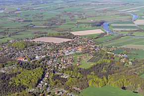 Aerial view in 2012 with Oste
