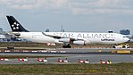 Lufthansa (Star Alliance livery) Airbus A340-300 (D-AIGX) at Frankfurt Airport.jpg