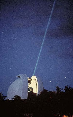 Harlan J. Smith Telescope - The 2.7-meter Harlan J. Smith Telescope of the McDonald Observatory (US) is used to point a laser beam to a reflector stationed on the surface of the moon.
