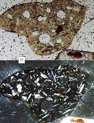 Volcanic rock - Photomicrograph of a volcanic lithic fragment (sand grain); upper picture is plane-polarized light, bottom picture is cross-polarized light, scale box at left-center is 0.25 millimeter.