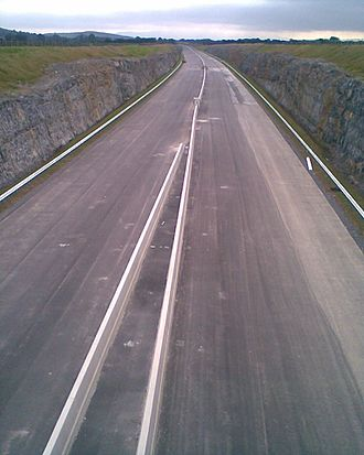 Concrete step barrier - The concrete step barrier in the under construction M8 motorway in Ireland (August 2008)