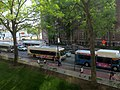 MBTA and EZRide buses on Mass Ave at MIT, May 2017.JPG