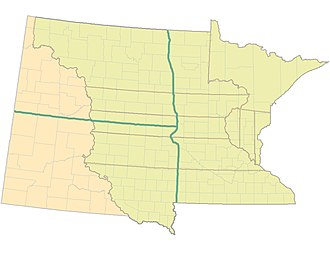 Minnesota Territory - Nine original Minnesota Territory Counties (1849–1851) superimposed over Minnesota (right), North Dakota and South Dakota (left) of today