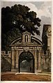 Magdalen College, Oxford; entrance gate. Coloured aquatint b Wellcome V0014118.jpg