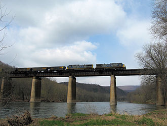Magnolia, West Virginia - CSX Train on bridge at Magnolia (2007)