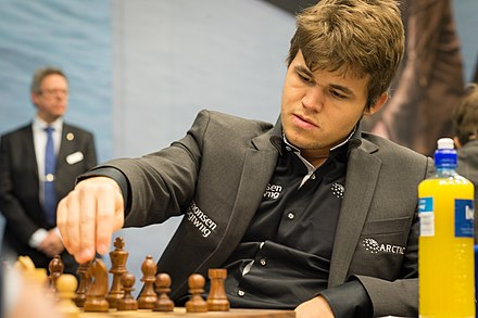 Carlsen in play during round seven of the 75th Tata Steel, 2013 Magnus Carlsen Tata Steel 2013.jpg