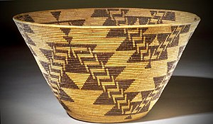 Maidu - Maidu coiled basket by Mary Kea'a'ala Azbill, circa 1900