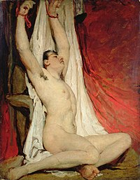 nude male with his arms tied above his head
